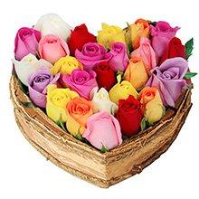 Coração Chic de Rosas Coloridas