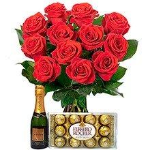 12 Lindas  Rosas Vermelhas com Ferrero Rocher e Chandon