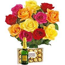 12 Lindas Rosas Coloridas com Ferrero Rocher e Chandon Baby