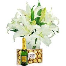 Lírios com Ferrero Rocher e Chandon (Vaso não Incluso)