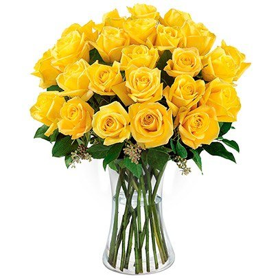 Luxuosas 24  Rosas Amarelas no Vaso