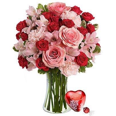Luxuoso Mix de Flores & Lindt