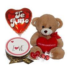Bolo Love com Chocolate, Balão Te Amo e Pelúcia