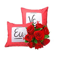 Rosas Vermelhas  & Almofada Eu e Vc