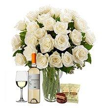 Soneto 36 Rosas Brancas, Vinho e Chocolate