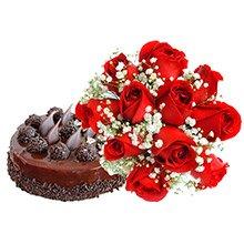 Buquê Rosas Vermelhas & Bolo de Chocolate