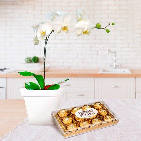 Vaso com orquídea e caixa de Ferrero Rocher