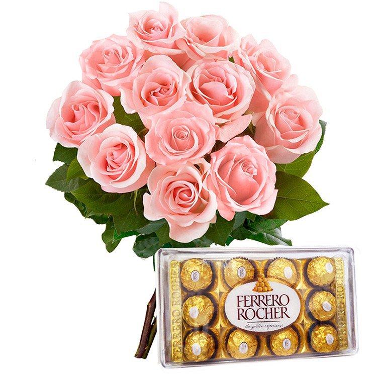 12 Lindas  Rosas Cor-de-Rosa e Ferrero Rocher