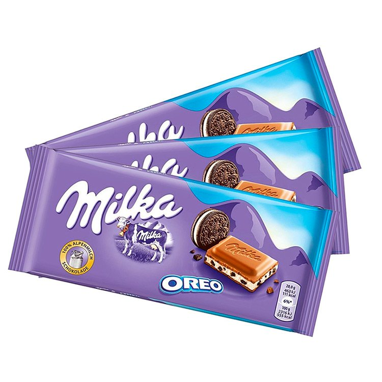 Kit com 3 Barras de Chocolate Milka Oreo