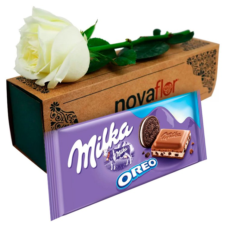 Exclusiva Rosa Branca e Chocolate Milka Oreo