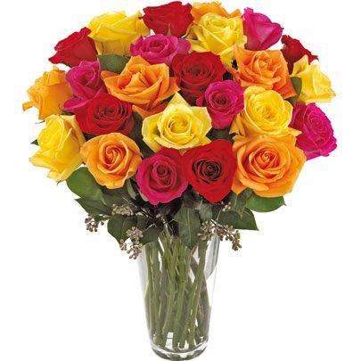 Soneto 36 Rosas Coloridas no Vaso